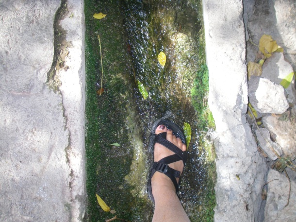 Rejuvenating my feet after healing my wrist, Delphi Magical Spring